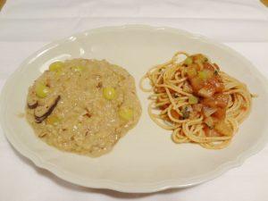 干ししいたけ、干しポルチーニのリゾット、ドライトマト・黒オリーブのペーストあえスパゲッティ