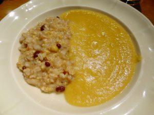 ひよこ豆のスープ、雑穀・パルメザンのリゾット添え