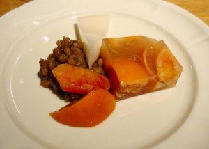 タロッコオレンジ寒天とレンズ豆 ブルーメープル風味