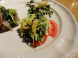 雪白ター菜、モッツァレッラ、糸かぼちゃの山わさび風味